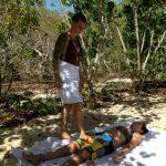 Having fun on the beach yogi style